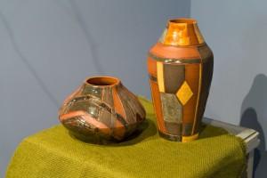 I. Yoltukhovska. A set of decorative vases clay, engobe, glaze (3)