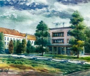 Pushkin Square 1996 watercolour
