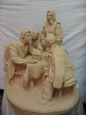 I. Orlai With His Friends In Transcarpathia, 1973, terracotta, round sculpture