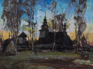 V. Dub. The Church in Huklyvyi Village, 2016, oil on cardboard, 50x60