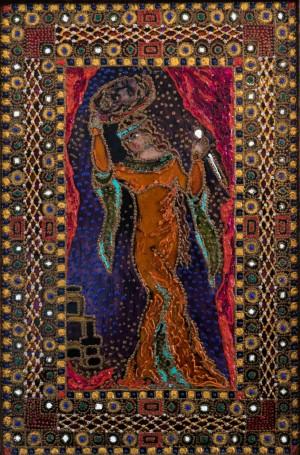 Judith, 2014, glass, paint on glass, authors technique
