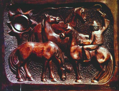 Horses, 1971, wood, carving, 54х52