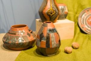 I. Yoltukhovska. A set of decorative vases clay, engobe, glaze (4)