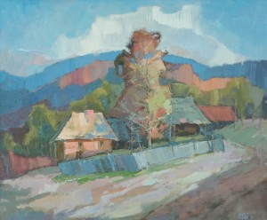 Vyshka Village, 2016, oil on canvas, 60x70