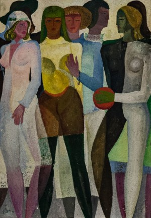 'Girls', 1971, tempera on cardboard