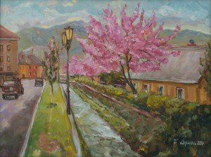 Cherry Blossom in Rakhiv, 2017, oil on canvas, 45x60