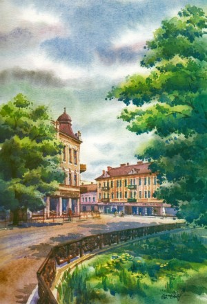 Sandor Petofi Square  watercolour