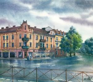 Sandor Petofi Square 1996 watercolour