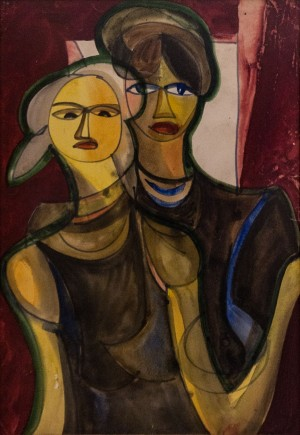 'Couple', 1972, watercolour on paper
