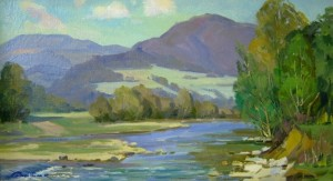 The River At The Foot Of The Mountains, oil on canvas, 45х80