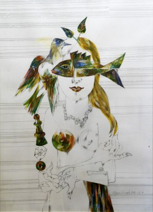 László Sipos Regnum Marianum watercolour, ink, pencil, paper 86х62