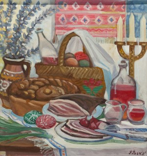 'Easter Dinner', 1965, tempera on cardboard, 57х61