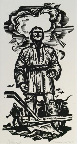 Earth, 1989, linocut printing technique
