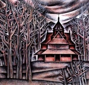 Сирохман М. Гуцульська церква в Прокураві, 1987, пап.акв. г., 21х20
