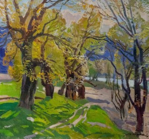 'Spring In Nevytske Village', 1976, oil on canvas, 75x80