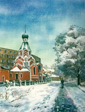 Intercession of the Holy Virgin Orthodox Church 1999 watercolour