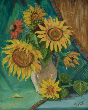 Sunflowers, 2011, oil on cardboard, 45x55