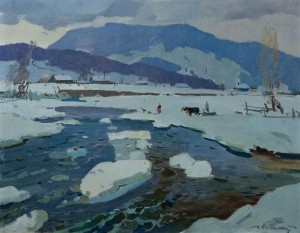 'March. Ice Has Melted', 1957, oil on canvas, 71x91