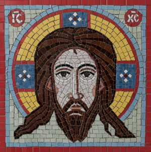 Icon of Christ Not Made by Hand, 2012, tile, wood, 50x50