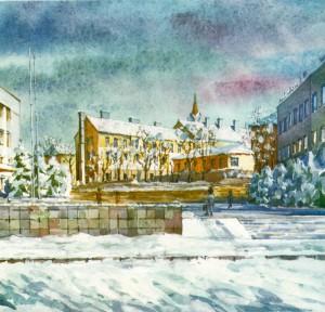 Poshtova Square watercolour