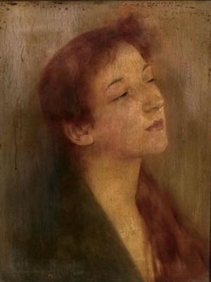 Портрет жінки з рудим волоссям, дошка,о., 24,1х19