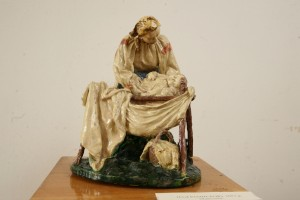 Above The Cradle, 1957, majolica, sculpture of small forms
