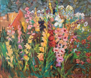 V. Chepynets Gladioli , 2017, oil on canvas, 60x70