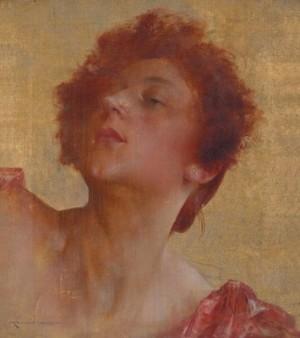 Портрет жінки на золотому фоні, п.о., 36х32,5