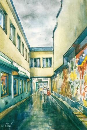 Shopping Mall Lane 1998 watercolour