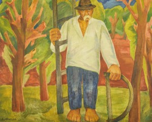"V. Mykyta ""Grandfather-gardener"", 1990, oil on canvas"