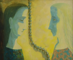 N. Ponomarenko. Two Profiles, 2001. oil on fibreboard
