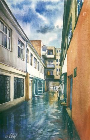 Shopping Mall Lane 1999 watercolour