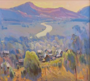 Village over the River Uzh, 2016, oil on canvas