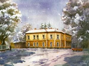 Rector's ofiice of Uzhhorod State University 1999 watercolour