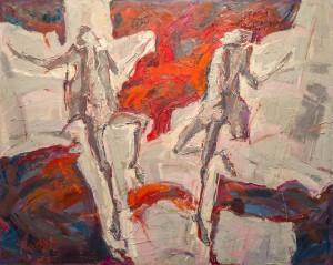 R. Maslianko Conflict acrylic, oil on canvas, spackle