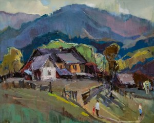Old Huts In Domoshyno Village, 2017, oil on canvas, 60x70
