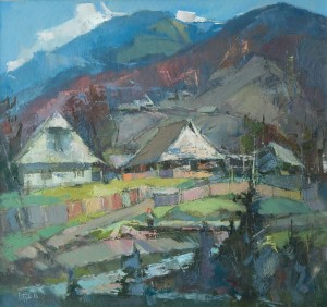 Old Houses In Synevyr Poliana Village, 2016, oil on canvas, 70x75