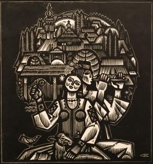 Musicians, 1980, linocut printing technique