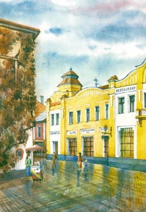 Restaurant and Hotel 'Korona' watercolour