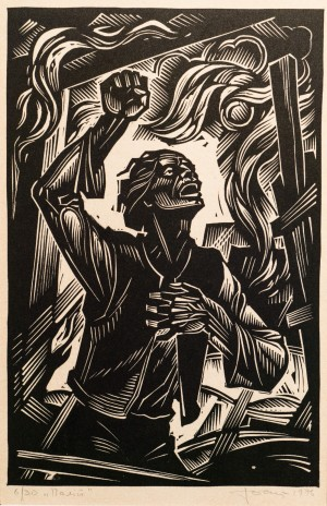 The one who makes the arson, 1996, linocut printing technique