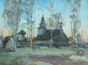 Church in Huklyvyi Village', 2016, oil on cardboard, 50x60