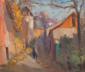 An Old Street in Uzhhorod, 2016, oil on canvas