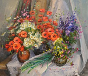 "V. Svaliavchyk ""Still life with Poppies"", 2015, oil on canvas"
