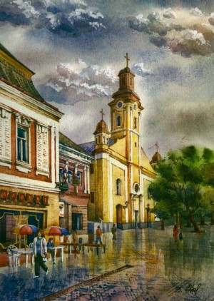 Roman Catholic Church 1995 watercolour