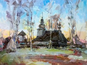 Church In Huklyvyi Village, 2016, oil on cardboard, 50x60