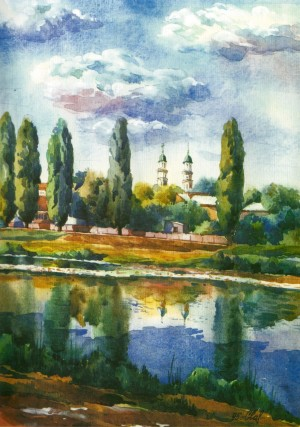 Uzh River. View of the Cathedral 1995 watercolour