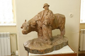 Chaban With A Buffalo, 1973, wood, round sculpture