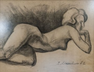 'Act', 1972, coal on paper