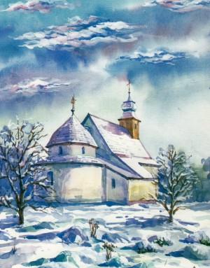 Rotunda Horiany village watercolour