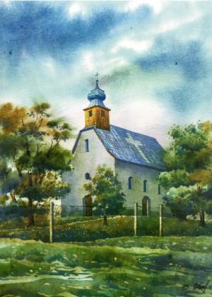 Rotunda Horiany village 1995 watercolour